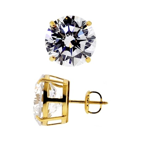 14K Yellow Gold 13.00 ct Round CZ Screw Back Mens Stud Earrings 12 mm