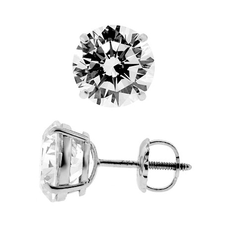 14K White Gold 0.20 ct Round CZ Screw Back Kids Stud Earrings 3 mm