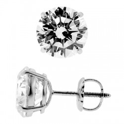 14K White Gold 7.60 ct Round CZ Screw Back Mens Stud Earrings 10 mm