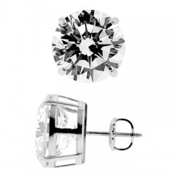 14K White Gold 13.00 ct Round CZ Screw Stud Earrings 12 mm