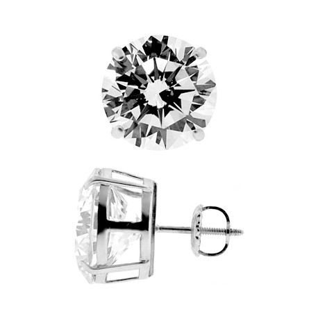 14K White Gold 13.00 ct Round CZ Screw Back Mens Stud Earrings 12 mm