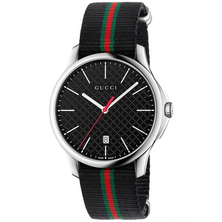 Gucci G-Timeless Web Nylon Black Dial Mens Watch YA126321