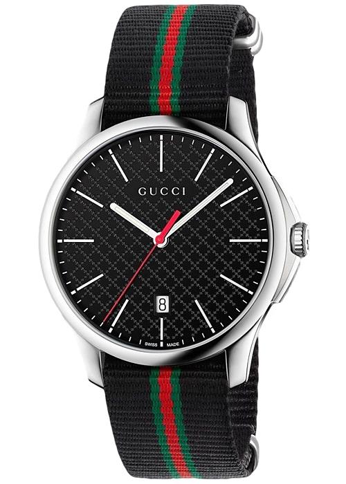 fd9c769a389 Gucci G-Timeless Web Nylon Black Dial Mens Watch YA126321