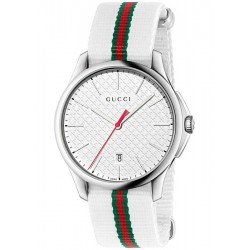 Gucci G-Timeless Web Nylon White Dial Mens Watch YA126322
