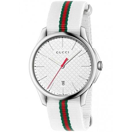 Gucci G-Timeless Web Nylon White Dial Mens Watch YA126322
