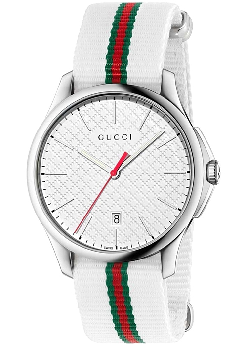 51b5ffd428b Gucci G-Timeless Web Nylon White Dial Mens Watch YA126322