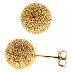 14K Yellow Gold Laser Cut Ball Womens Stud Earrings 4-10 mm