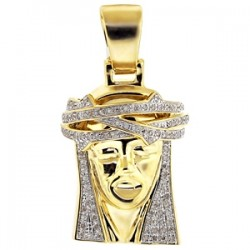 Mens Diamond Jesus Christ Face Pendant 10K Yellow Gold 0.80ct