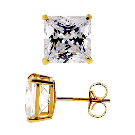 14K Yellow Gold 0.40 ct Princess CZ Push Back Kids Stud Earrings