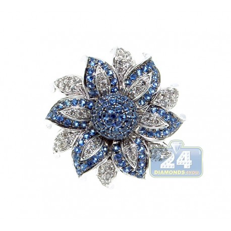 14K White Gold 1.52 ct Blue Sapphire Diamond Flower Cocktail Ring