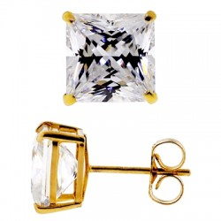 14K Yellow Gold 8.20 ct Princess CZ Push Back Mens Stud Earrings