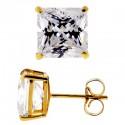 14K Yellow Gold 8.20 ct Princess CZ Push Back Stud Earrings