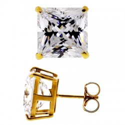 14K Yellow Gold 11.10 ct Princess CZ Push Back Mens Stud Earrings