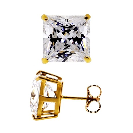14K Yellow Gold 11.10 ct Princess CZ Push Back Mens Stud Earrings