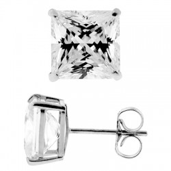 14K White Gold 3.90 ct Princess CZ Push Back Womens Stud Earrings
