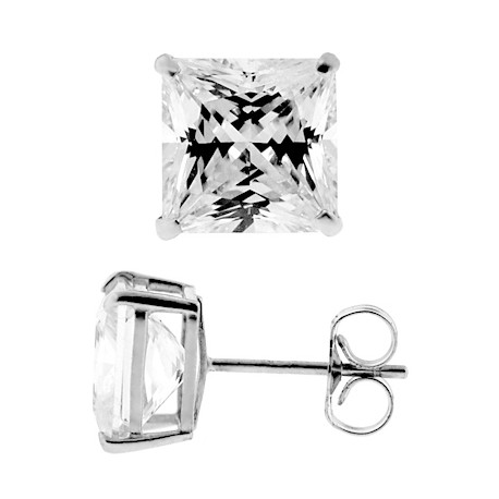 14K White Gold 8.20 ct Princess CZ Push Back Mens Stud Earrings