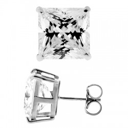 14K White Gold 11.10 ct Princess CZ Push Back Stud Earrings
