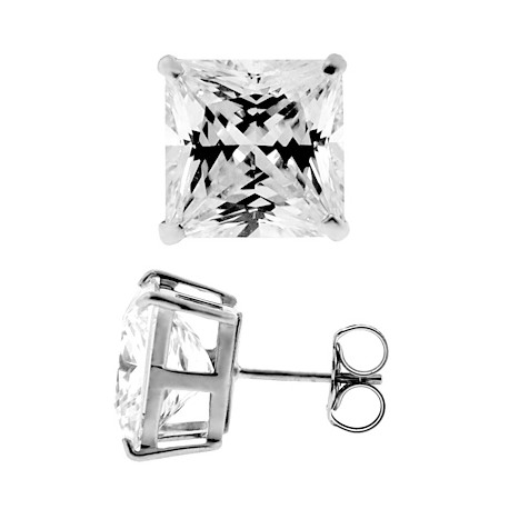14K White Gold 11.10 ct Princess CZ Push Back Mens Stud Earrings