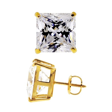 14K Yellow Gold 11.10 ct Princess CZ Screw Back Mens Stud Earrings