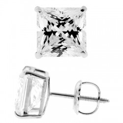 14K White Gold 3.90 ct Princess CZ Screw Back Stud Earrings