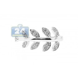 14K White Gold 0.16 ct Diamond Womens Leaf Ring