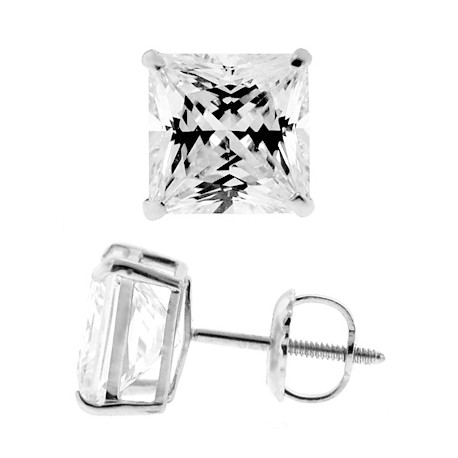 14K White Gold 8.20 ct Princess CZ Screw Back Mens Stud Earrings