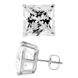 14K White Gold 11.10 ct Princess CZ Screw Back Stud Earrings