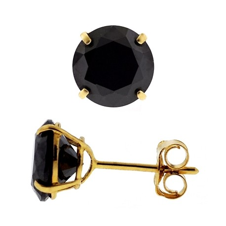 14K Yellow Gold Black Round CZ Push Back Stud Womens Earrings 4-7 mm