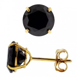 14K Yellow Gold 4.00 ct Black Round CZ Push Stud Mens Earrings 8 mm