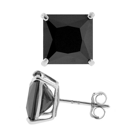 14K White Gold Black Square CZ Push Back Stud Womens Earrings 4-7 mm