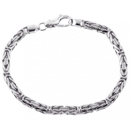 "Italian Sterling Silver Byzantine Solid Link Mens Bracelet 5mm 9"""