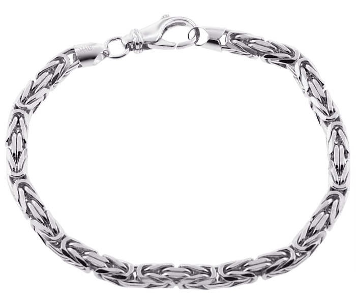 Italian Sterling Silver Byzantine Solid Link Mens Bracelet ...