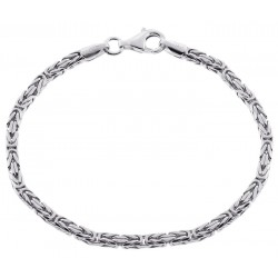 925 Silver Byzantine Solid Link Mens Bracelet 3 mm 8 Inches