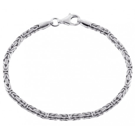 """925 Sterling Silver Byzantine Solid Link Mens Bracelet 3mm 8"""""""
