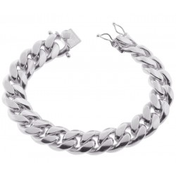 925 Silver Miami Cuban Solid Link Mens Bracelet 14 mm 9 Inches