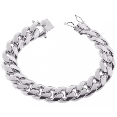 Solid Sterling Silver Miami Cuban Link Mens Bracelet 14mm 9""