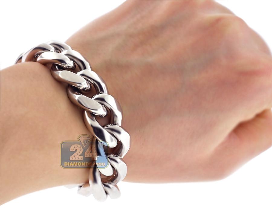 solid sterling silver miami cuban link mens bracelet 14mm 9. Black Bedroom Furniture Sets. Home Design Ideas