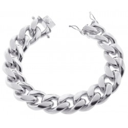 925 Silver Miami Cuban Solid Link Mens Bracelet 18 mm 9 Inches