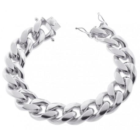 "Solid 925 Sterling Silver Miami Cuban Link Mens Bracelet 18mm 9"""