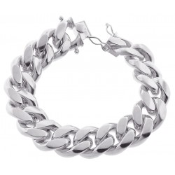 925 Silver Miami Cuban Solid Link Mens Bracelet 20 mm 9 Inches