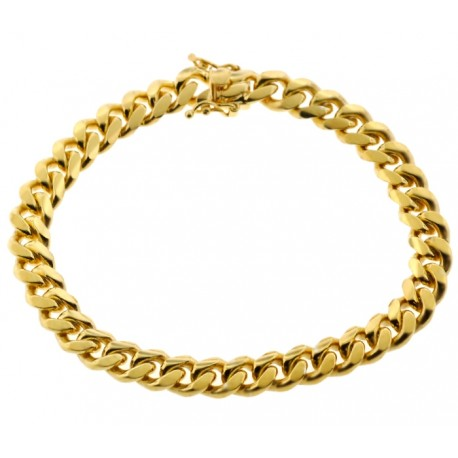 Yellow Gold 925 Silver Miami Cuban Link Mens Bracelet 8mm 9""