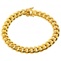 Yellow Sterling Silver Miami Cuban Link Bracelet 10 mm 9 inches