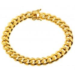 "Yellow Gold Sterling Silver Mens Miami Cuban Bracelet 10mm 9"""
