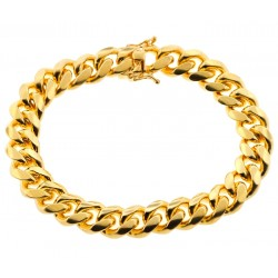 Yellow Gold 925 Silver Miami Cuban Link Mens Bracelet 12 mm 9 Inches