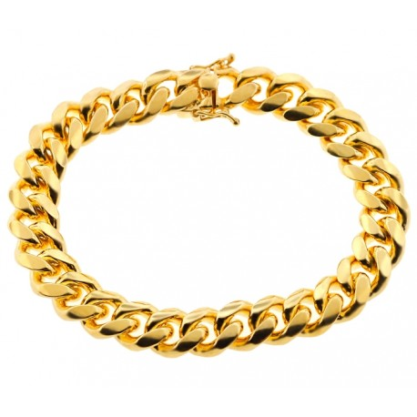 Yellow Gold 925 Silver Miami Cuban Link Mens Bracelet 12mm 9""