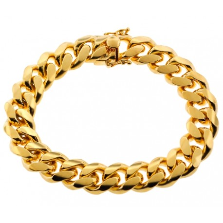 Yellow Gold 925 Silver Miami Cuban Link Mens Bracelet 13mm 9""