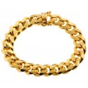 Yellow Gold 925 Silver Miami Cuban Mens Bracelet 13 mm 9 Inches