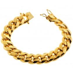 "Yellow Gold 925 Silver Miami Cuban Link Mens Bracelet 15mm 9"""