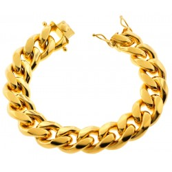 Yellow Gold 925 Silver Miami Cuban Link Mens Bracelet 18mm 9""
