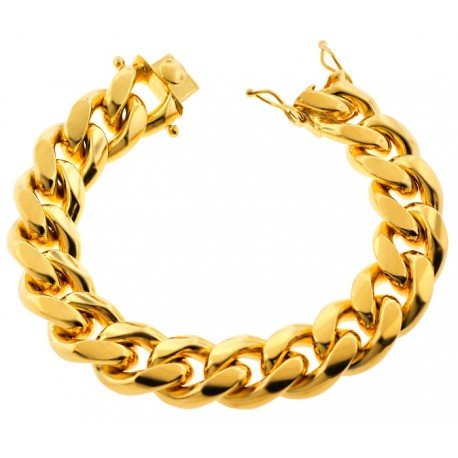 "Yellow Gold 925 Silver Miami Cuban Link Mens Bracelet 18mm 9"""